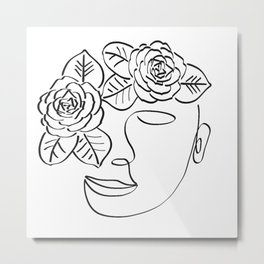 Woman and flowers Metal Print