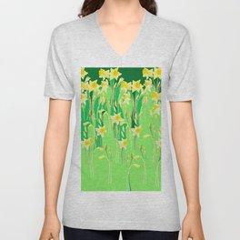 Daffodils in green Unisex V-Neck