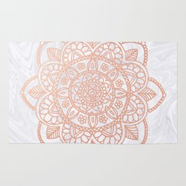 Rose Gold Mandala on White Marble Rug