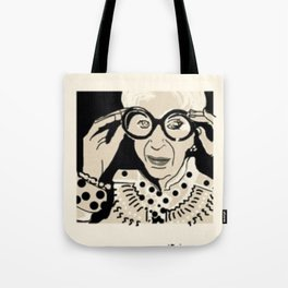 Iris Apfel cartoon portrait Tote Bag