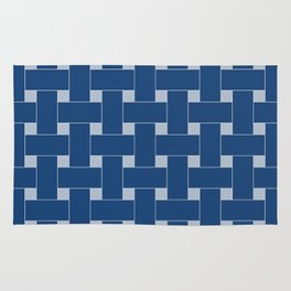 Basket Weave Blue and Grey Rug