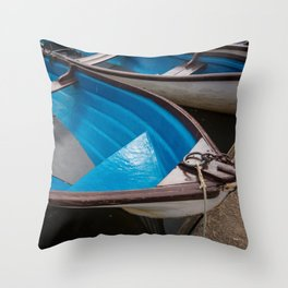 Blue Row Boats Throw Pillow