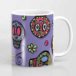 Sugar Skulls (on purple) - calavera, skull,  halloween, illustration Coffee Mug