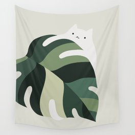 Cat and Plant 12B Wall Tapestry