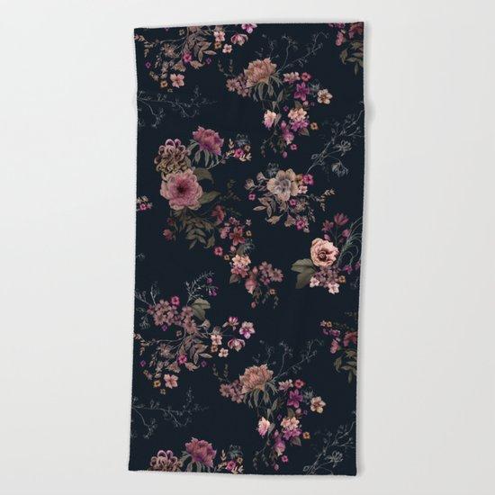 Japanese Boho Floral Beach Towel