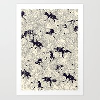 bedding Art Prints featuring Hide and Seek by nicebleed
