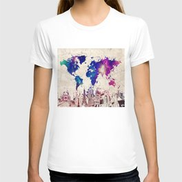 world map city skyline galaxy 2 T-shirt