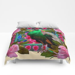 GREEN PEACOCK & PINK ROSE  FLOWERS CREAM ART Comforters