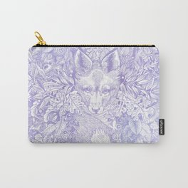 Pastel Purple Hiding Fox Drawing Carry-All Pouch