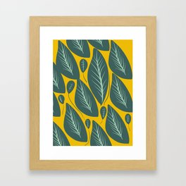 Green Leaves and Yellow Pattern Nature Design Framed Art Print