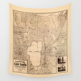 Map Of Lake Tahoe 1874 Wall Tapestry