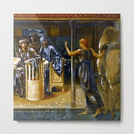 """Sir Edward Coley Burne-Jones """"The Knights of the Round Table Summoned to the Quest by a Damsel"""" Metal Print"""
