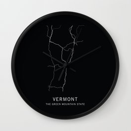 Vermont State Road Map Wall Clock
