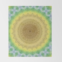 Tie Dye Sunflower Cloth Woven Sun Ray Pattern \\ Yellow Green Blue Purple Color Scheme Throw Blanket