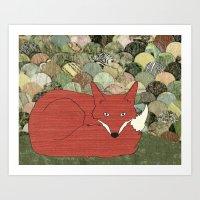 mr fox Art Prints featuring Mr. Fox by Elephant Trunk Studio