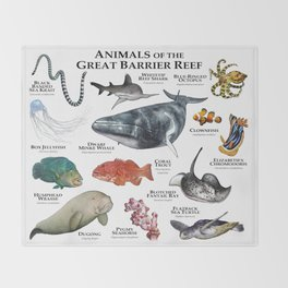 Animals of the Great Barrier Reef Throw Blanket