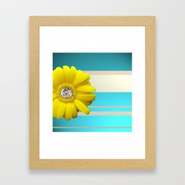 Yellow Daisy Flower Blue & Beige Stripes Framed Art Print