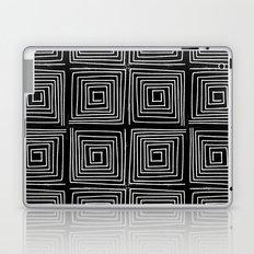 Minimal linocut printmaking geometric square maze pattern scandinavian minimalist Laptop & iPad Skin