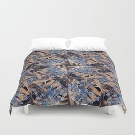 Shades of Blue Flower Garden Duvet Cover