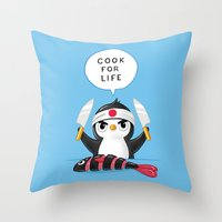 chef Throw Pillows featuring Penguin Chef by Freeminds