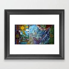 Hogwarts stained glass style Framed Art Print