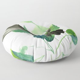 Black Moor Aquarium Fish, Elegant black and green design aquatic black fish Floor Pillow