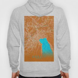 Annecy, France, Gold, Blue, City, Map Hoody