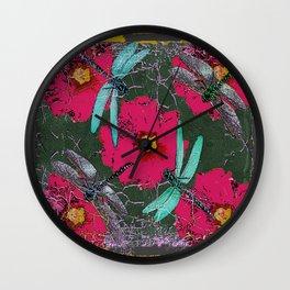 SHABBY CHIC BLUE DRAGONFLIES ON  FUCHSIA HOLLYHOCK FLOWERS Wall Clock