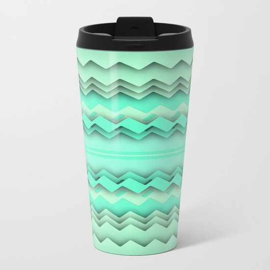 Mint paper zigzag Metal Travel Mug