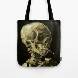 Skull of a Skeleton with Burning Cigarette by Vincent van Gogh Tote Bag