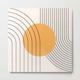 Geometric Lines in Black and Beige 38 (Rainbow and Sun Abstract) Metal Print