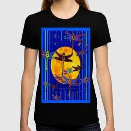 Dragonflies Moon Fantasy Blue Art Abstract T-shirt