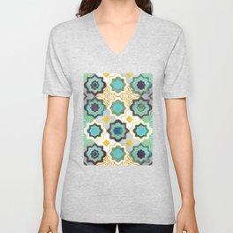 Marrakesh gold and blue geometry inspiration Unisex V-Neck