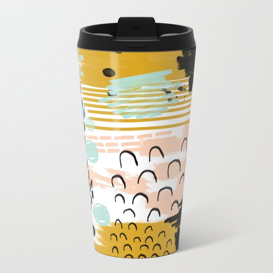 Ames - Abstract painting in free style with modern colors navy gold blush white mint Metal Travel Mug