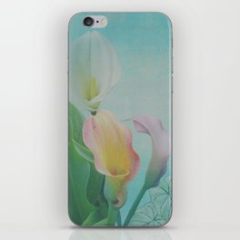 Painterly Calla flowers and leaves iPhone Skin