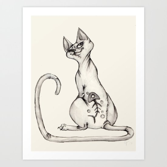 Cats with Tats v.1 Art Print
