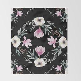 Magnolias, Eucalyptus & Anemones Throw Blanket