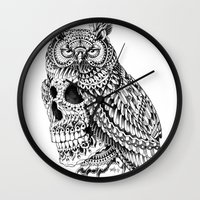 bioworkz Wall Clocks featuring Great Horned Skull by BIOWORKZ