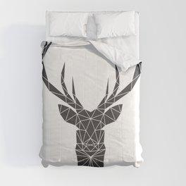 Grey Deer Head Illustration Comforters