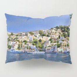 Symi island in Greece. Traditional houses. Sunny day with blue sky and sea. Pillow Sham