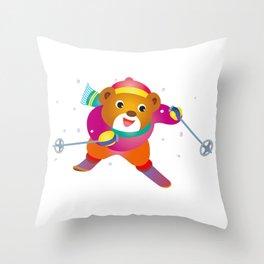 Bear to ski Throw Pillow