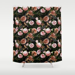 Vintage & Shabby Chic - Blush Camellia & Kingfishers Shower Curtain