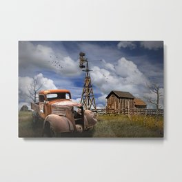 Old Junk Truck for Sale and Wooden Barn with Windmill Metal Print