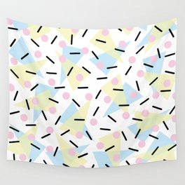 Funky Memphis Confetti Party Pattern Blue Pink Yellow Wall Tapestry