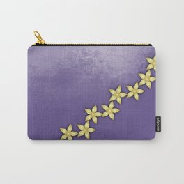 Gold flowers on ultraviolet texture Carry-All Pouch