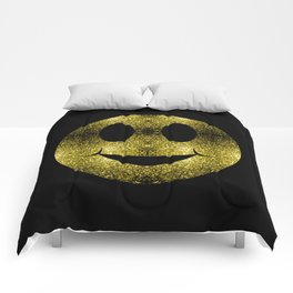 Sparkly Smiley Yellow Gold sparkles Comforters