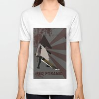 silent hill V-neck T-shirts featuring Pyramid Head - Silent Hill by BatSpats