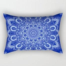 Blue Boho Mandala Flower Rectangular Pillow