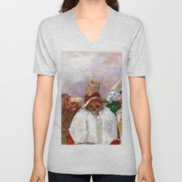 Masks Mocking Death portrait painting by James Ensor Unisex V-Neck