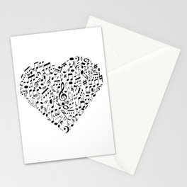 I Love Music | Musical Symbols Musician Stationery Cards